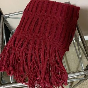 Long beautiful red double layer detail scarf